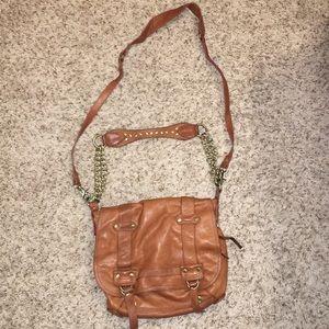 Cognac leather bag.